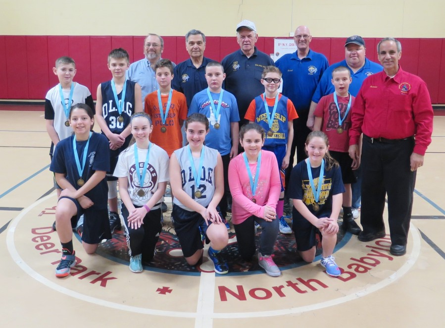 The Knights of Columbus of the 8th New York District recently held the District's annual Free Throw Basketball Championship. The event was held in the gymnasium at Ss. Cyril & Methodius Parish in Deer Park on Saturday, February 6, 2016 at 9:30am. Boys and Girls between the ages of 9 through 14 who were winners at their council levels competed against each other. The participating councils were Our Lady of the Rosary Council #4428 in Deer Park and Our Lady of Grace Council #11968 in West Babylon. The eleven (11) winners above, 5 girls and 6 boys will be advancing to the Suffolk County Championship on March 5th. 2016. Pictured Left to Right: Front Row Kneeling: Felicia Barreiros(F-13), Grace Canonica(F-12), Kelly Bianco(F-11), Dahlia Lind(F-10), Jaclyn Morra(F-9) Middle Row: Jonathan Cook(B-13), Tyler Wynn(B-14), Giuseppe Vitale(B-12), Bobby Murphy(B-7), Matthew Terrano(B-11), Billy Murphy(B-10), Carmine E. Soldano, District Deputy, 8th NY District.