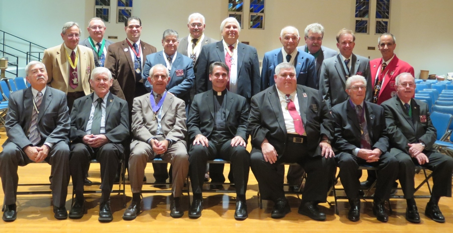 St. Joseph the Carpenter Council N0.14771, Knights of Columbus in Babylon recently held their annual Installation of Officers on Tuesday, September 27th, 2016 at St. Joseph's Church in Babylon. Carmine E. Soldano, District Deputy of the 8Th NY District officiated over the ceremony. Grand Knight Dominick J. Giusto was installed in his third term as Grand Knight for the 2016-2017 Columbian Year. There were approximately 50 Guest and dignitaries in attendance. Refreshments were served following the ceremony. Seated Left to Right: Gullermo Jimenez-Chancellor, Deacon John Sullivan-St. Joseph's RC Church, Dominick J. Giusto-Grand Knight, Father Charles Mangano-Pastor St. Joseph's RC Church, John G. Joseph-Secretary to the NYS Deputy, Lawrence Dell'Erba-Deputy Grand Knight, Eugene McAdams-Trustee, PGK. Standing left to Right: Vito W. Colletti-Advocate, Matthew G. Cola-Trustee, PGK, Darrell J. Clark-Warden, Peter Vicari Jr.-Outside Guard, Richard J. Lauro-Financial Secretary, Vincent M. Catalano-Recording Secretary, Vincent A. Milano-Inside Guard, Daniel M. Tergesen-Trustee, PGK, Christopher J. Loggia-Lecturer, Carmine E. Soldano-Chairman of the Board of District Deputies.