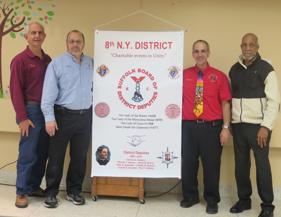 Pictured left to Right: Dominick J. Giusto, Grand Knight of St. Joseph the Carpenter, Thomas R. Humel, Grand Knight of Our Lady of Grace, Carmine E. Soldano, 8th NY District Deputy, and Ricardo R. Rivera, Grand Knight of Our Lady of the Miraculous Medal.(Not pictured is Vincent DiPasquale, Grand Knight of Our Lady of the Rosary).