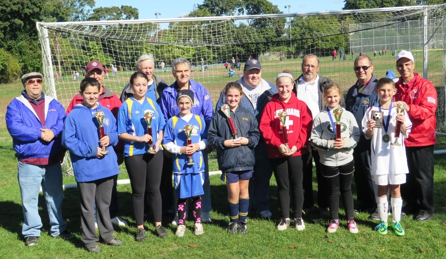 The Knights of Columbus hosted a Suffolk County Level Soccer Challenge Competition at Our Lady of the Rosary Council Athletic Field in Deer Park. The competition was held on Oct 17, 2015 between participants from all councils in the County of Suffolk. A total of 7 youths from the 8th New York District were awarded with K of C Trophies and will be advancing to compete in the Long Island Regional Competition Level. Front Row: WINNERS: Anthony Cario-M-14, Grace Villar-F-14, Dylan Latargia-M-11, Kelly Biano-F-10, Melanie Karniewich-F-11, Jiavana Schweigert-F-9, Anthony Miller-M-9. Back Row: Rich Colton, Dominick Giusto-Grand Knight, John Lazar-NYS Soccer Challenge Vice Chairman, Nicholas LaSora-GK, Lance Karniewich, Thomas Humel-GK, Michael Hearney-NYS Youth Director, Carmine E. Soldano-District Deputy-8th District.