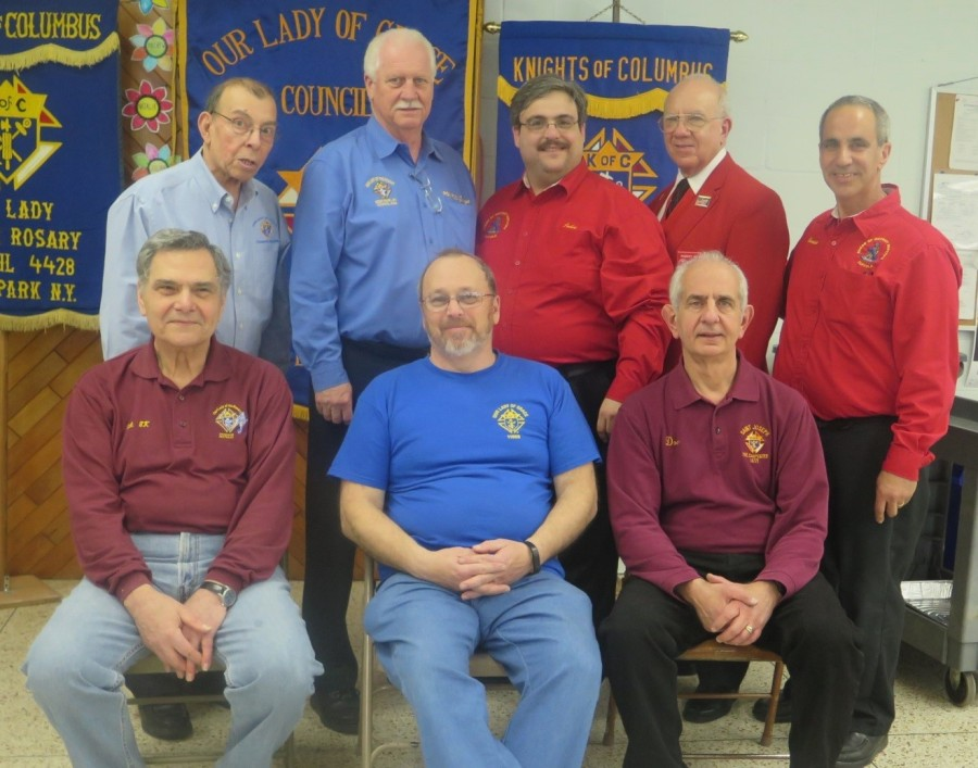 The 8th New York District Knights of Columbus hosted their 18th annual Life Center Pasta Dinner on April 10th, 2016. This year's event was record breaking with 410 in attendance at Our Lady of Grace Parish in West Babylon. Approximately $20,000.00 was raised between the Pasta Dinner and the Chinese Auction. Standing left to right: Frank Casillo, Suffolk Conference Chairman, George Lundin, Suffolk Chapter Chairman, John Mastrosimone, Chairman of the Board of District Deputies, Robert G. Wahl, District Deputy, of the 14th NY District(Nassau), Carmine E. Soldano, District Deputy of the 8th NY District. Seated left to right: Nicholas LaSorsa, Grand Knight, Our Lady of the Rosary Council-Deer Park, Thomas R. Humel, Grand Knight, Our Lady of Grace Council-West Babylon, Dominick J. Giusto, Grand Knight, St. Joseph the Carpenter Council-Babylon.