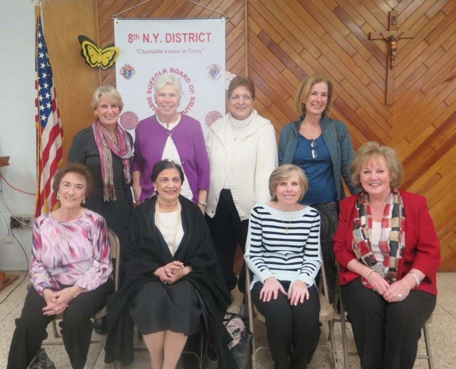 Life Center of Long Island Staff Standing left to right: Roseann Brienza, Meg Malley, Louise Perrotta, Kathie Flanagan. Seated left to right: Eileen Coyle, Margaret Lehmbeck, Nancy Harding-Event Chairperson, Gloria Schreiber-Executive Director.
