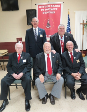 Former Chairmen of the Board of District Deputies. Seated left to right: Bill Larke, Norm Wagner, Richard Grefig. Standing left to right: Mike Tully, Secretary to State DeputyJohn Joseph.
