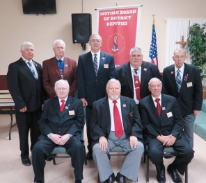 Seated left to right: Bill Larke, Norm Wagner, Richard Grefig. Standing left to right: Rich Burke, George Lundin, Mike Tully, secretary to State Deputy John Joseph, Frank Casillo.