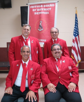 Officers of the Suffolk Board of District Deputies. Seated left to right: Vice Chairman - Carminee E. Soldano, Chairman - John A. Mastrosimmone. Standing left to right: Treasurer - Mike Boehm, Secretary - Joseph Adamo.