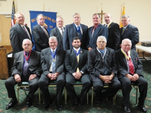 Our Lady of Perpetual Help Council N0.794, Knights of Columbus in Lindenhurst recently held their annual Installation of Officers on Tuesday, September 15th, 2015 at the American Legion Hall in Lindenhurst.  Carmine E. Soldano, District Deputy officiated over the ceremony. Grand Knight Philip A. Rena was installed as Grand Knight for the 2015-2016 Columbian Year. There were approximately 45 Guest and dignitaries in attendance. Light refreshments were served following the ceremony. Seated Left to Right: John Jordan-Warden, James W. Nevins-Deputy Grand Knight, Philip A. Renna-Grand Knight, Thomas A. Romano-Chancellor, Robert E. Dobres-Financial Secretary. Standing left to Right: Phil Albert-Guard, Robert Salvia-Guard, John Reynolds-Trustee, Edward Cirella-Treasurer, William Connors-Guard, Steven Strigaro-Lecturer, Bill Crosby-Trustee.